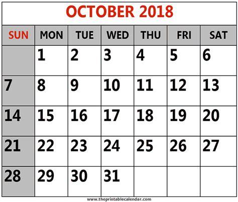 printable calendar 2018 october october 2018 printable calendars