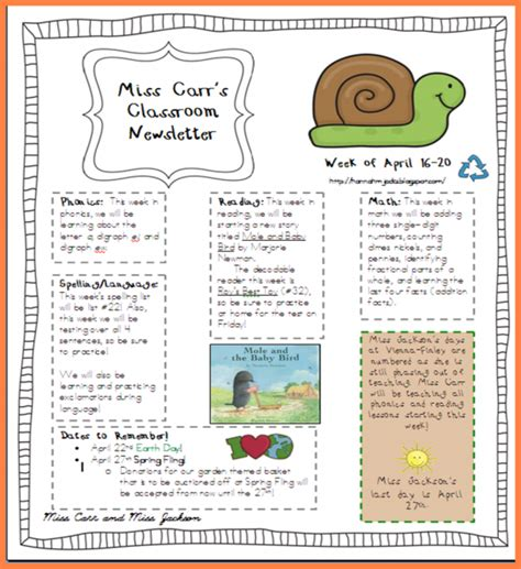 5th grade newsletter template editable newsletter