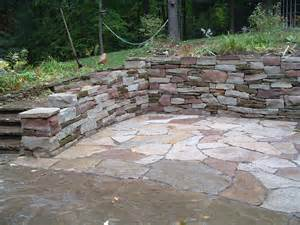 patio designs among retaining walls matched with