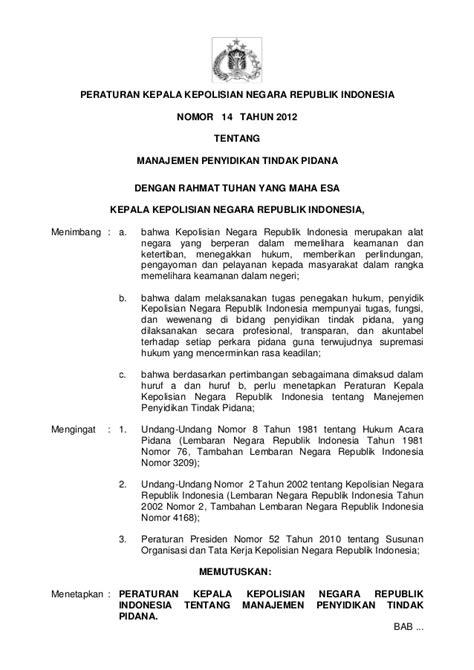 perka polri no 14 thn 2012 ttg manajemen penyidikan tindak pidana