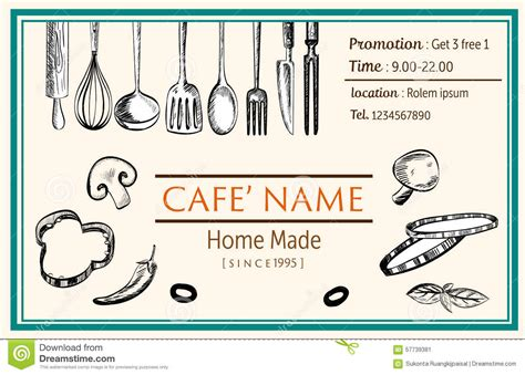 Food Name Card Template by Name Card Brochure Restaurant Template Doodle Drawing