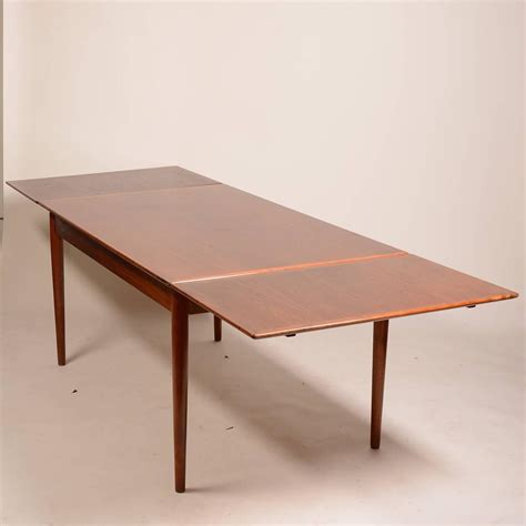 modern dining table with leaf large modern draw leaf dining table in teak for