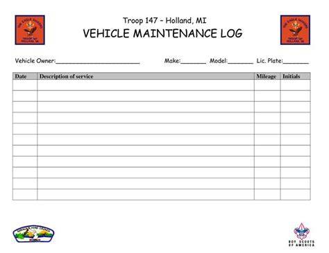 maintenance log book template free vehicle maintenance log book template http www lonewolf