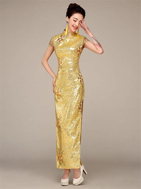 Dress Of The Day Golden Lace Qi Pao by Sequins Fabric Traditional Wedding Qipao