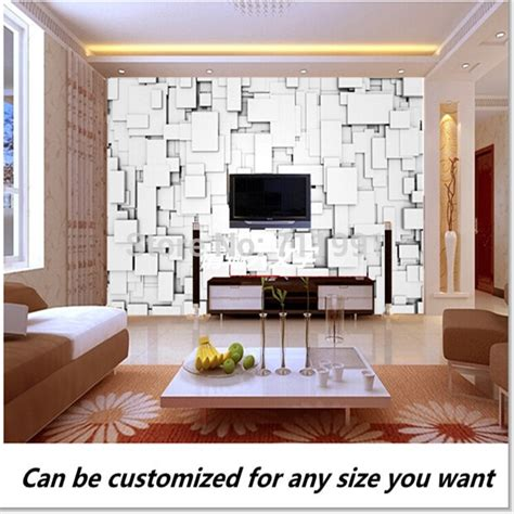tv background wall design aliexpress buy free shipping custom modern 3d design from white blocks wall mural