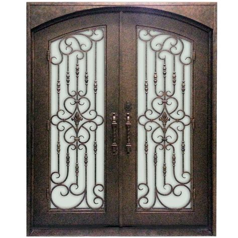 wrought iron doors majestic entries 74 in x 96 in 1 lite finished steel wrought iron prehung front door