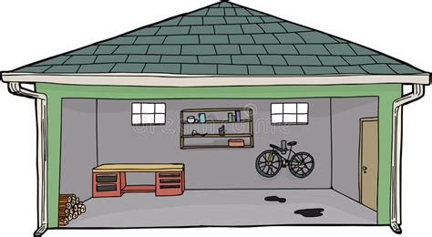drawing of a house with garage isolated open garage with bike stock illustration