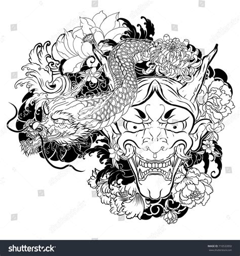 doodle release demons japanese mask lotuschrysanthemumpeony cherry flower