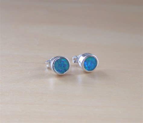 blue opal earrings 925 blue opal stud earrings 6mm blue opal stud earrings