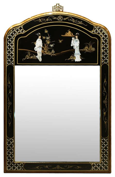 Black Mirror Japanese | black lacquer mother of pearl mirror asian wall