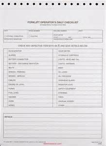 forklift checklist template forklift operator daily checklist snap out format