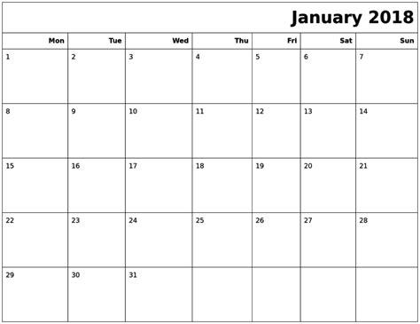 printable calendar letter size january 2018 calendar a4 calendar template letter format