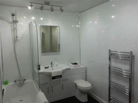 picture for bathroom wall 6 white sparkle gloss plastic cladding panels bathroom
