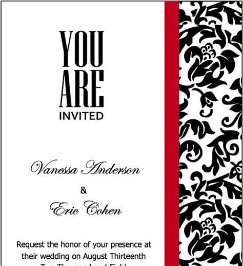 pages black red wedding invitations template free iwork