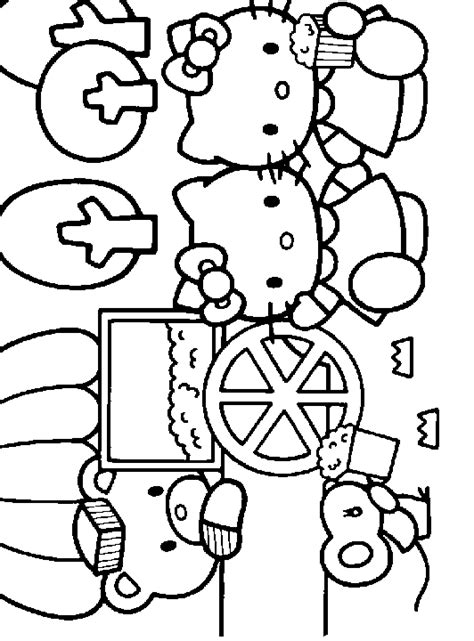 coloring pictures of hello kitty and her friends printable hello kitty and friends coloring sheet