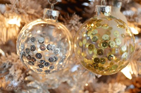 diy christmas ornament craft sequins in clear glass fox