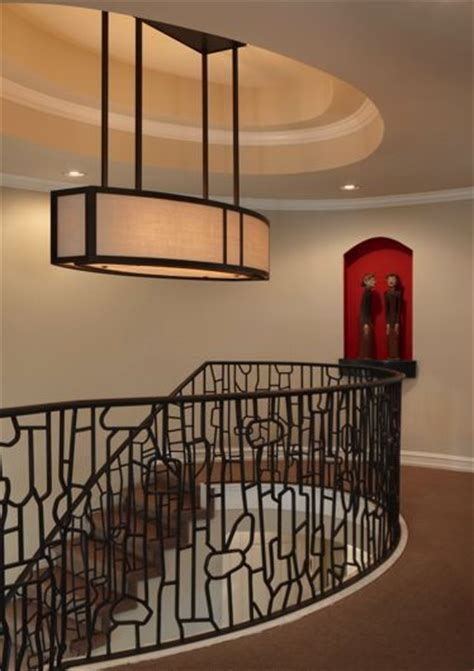Light Fixtures Birmingham Al Unique Custom Designed Metal Light Fixture And Stair Railing Amw Design Studio Weinstein