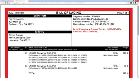 Bill Of Lading For Hazardous Materials Youtube Hazardous Materials Bill Of Lading Template