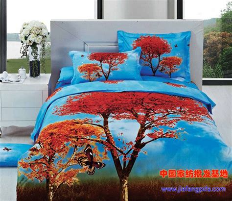 3d blue red tree butterfly bedding comforter sets queen