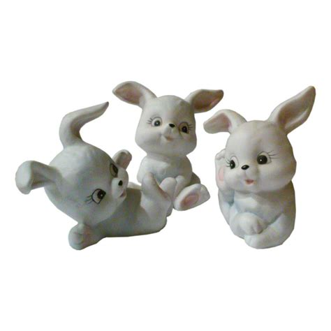 Vintage Bunny Figurine Shop Collectibles - vintage lefton bunny rabbit figurines set of and 50