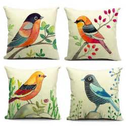 4 styles painting birds cushions pillows covers bird
