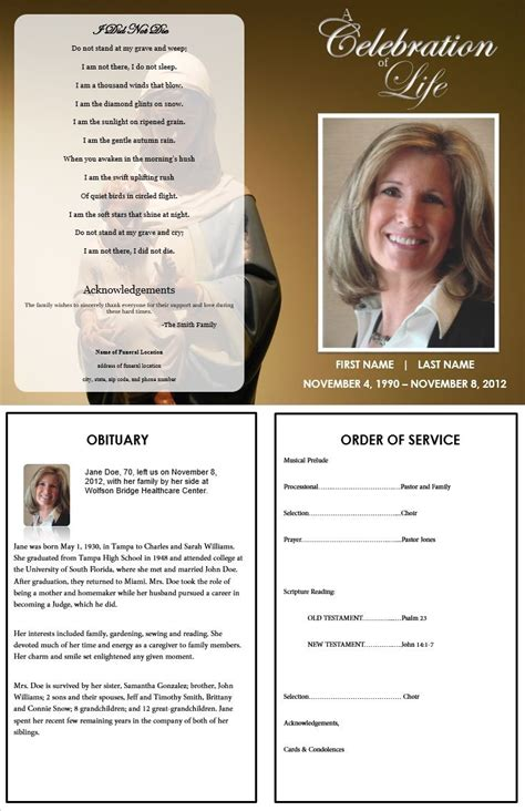 1000 Images About Printable Funeral Program Templates On Pinterest Program Template Funeral Free Editable Obituary Template