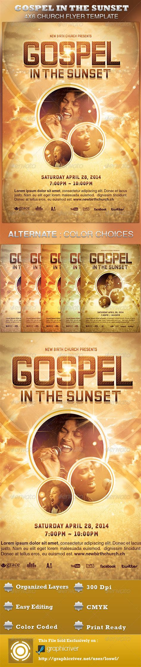 Gospel Church Flyer Template Gospel In The Sunset Church Flyer Template By Loswl Graphicriver