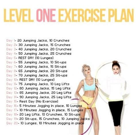 level one daily exercise plan exercises and fitness