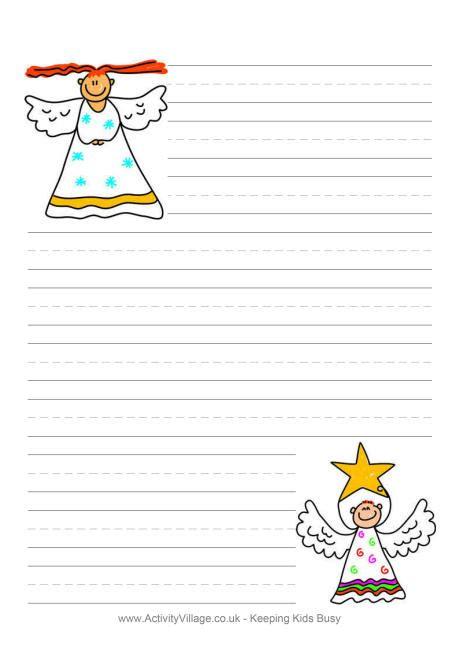 christmas angel writing paper