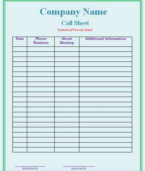 call sheet template selimtd