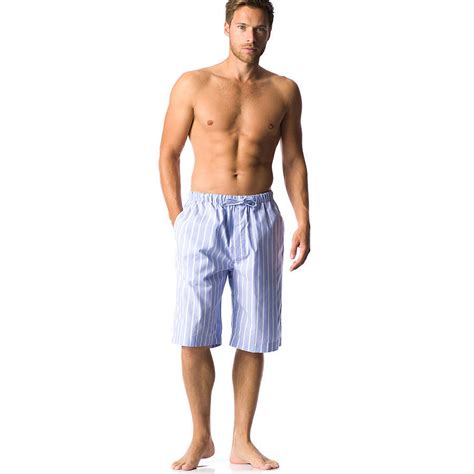men s men s blue striped pyjama shorts by pj pan