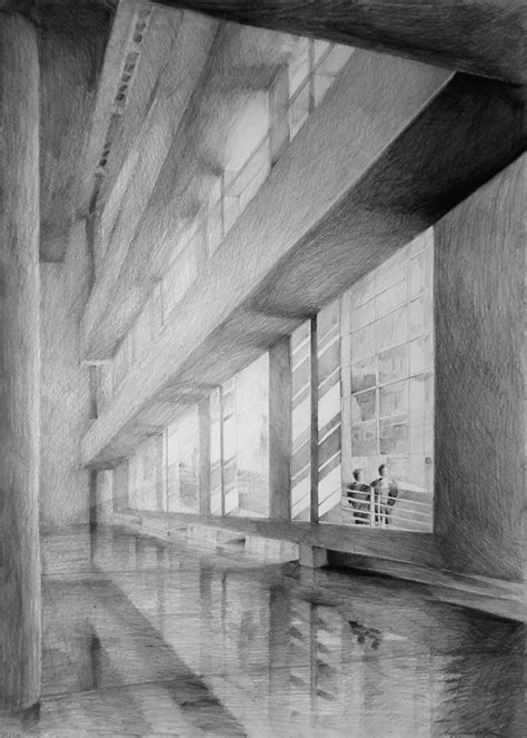 architecture pencil sketches interior with quot shiny quot floor created through light pencil