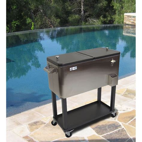 Stainless Steel Cooler With Shelf by Portable Stainless Steel Rolling Cooler Shelf Outdoor