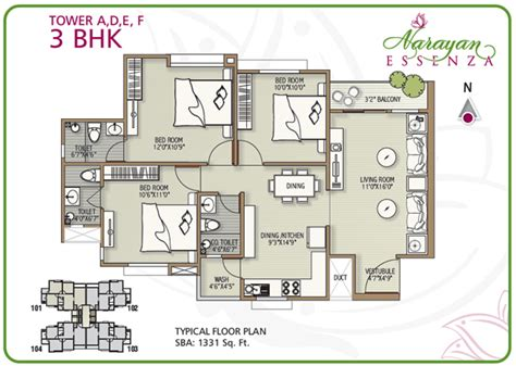 Narayan Essenza House Plan 2 3 Bhk Apartments In Vadodara