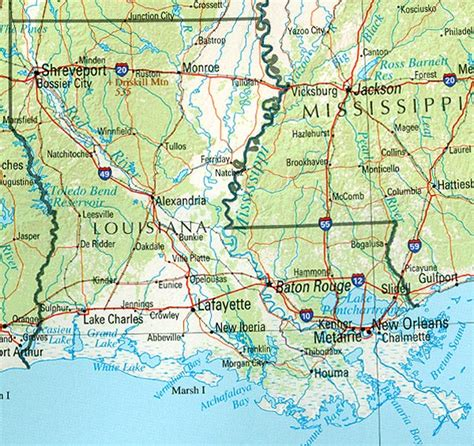 map of texas louisiana and mississippi louisiana reference map