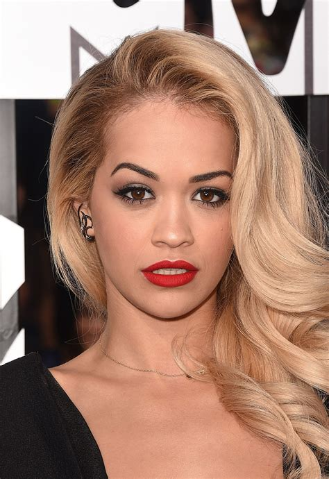 blonde bob red lips rita ora beauty get the look red lips popsugar beauty