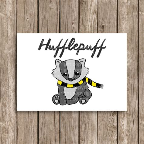 printable poster harry hufflepuff potter houses honey badger hand drawn computer design