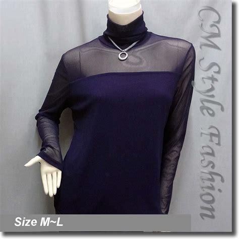 Sleeve Turtle Blouse 4 Sheer Sleeves Turtleneck Blouse Top Purple