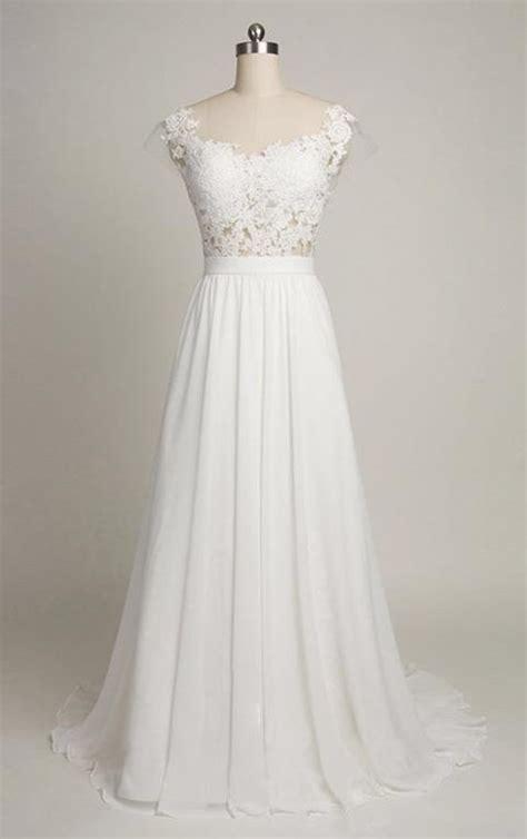 Pure White Cheap Wedding Dress 2018 Lace Chiffon Open Back Bridal Shower Dress BA4218 A Line