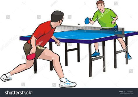 how to play table tennis two players play table tennis stock vector 122338942