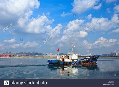 fishing boat fire port arthur dalian port liaoning china stock photos dalian port