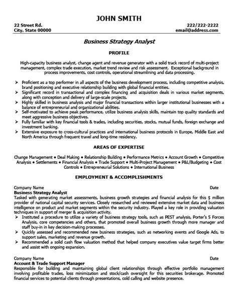 Business Strategist Sle Resume by Business Strategy Analyst Resume Template Premium Resume Sles Exle