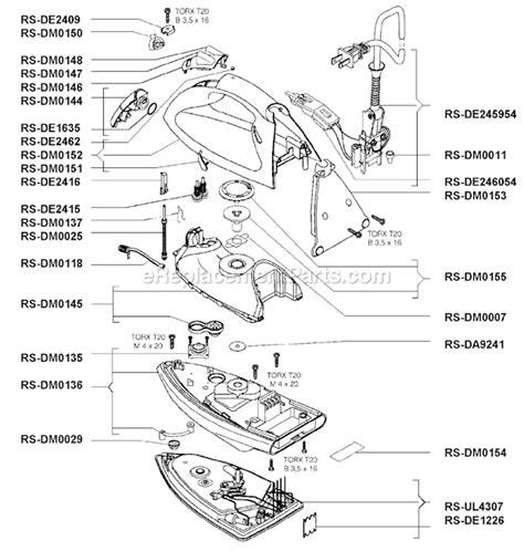rowenta iron parts diagram rowenta dm991g parts list and diagram ereplacementparts
