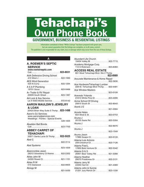 Phone Lookup Florida White Pages Tehachapi S Own Phone Book 2013 White Pages By Tehachapi