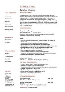 Resume Kitchen Manager kitchen manager resume example sample cooking food