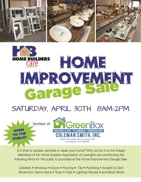 2016 home improvement garage sale home builders care