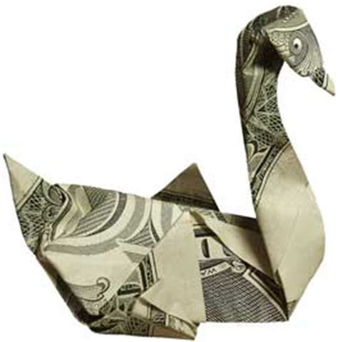 Dollar Bill Origami Swan - dollar artist money app