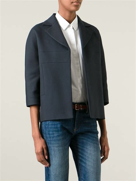 Panel Jacket lyst beckham cropped panel jacket in blue