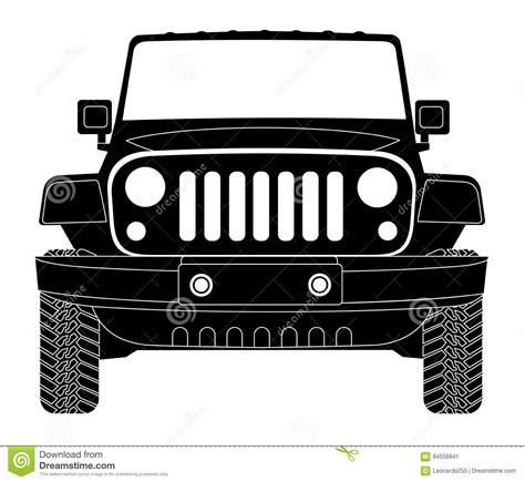 jeep wrangler front drawing jeep silhouette in front stock vector illustration of