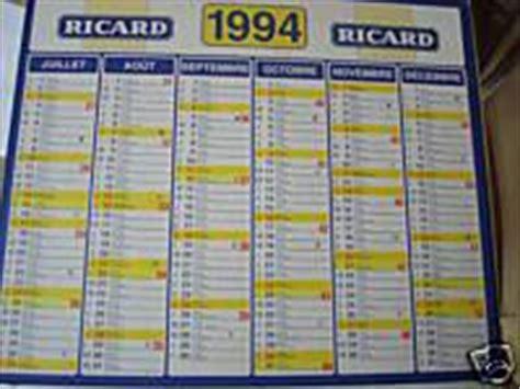 Calendrier 52 Chiffres Vendredi Calendrier 1994 Ma Collection Ricard